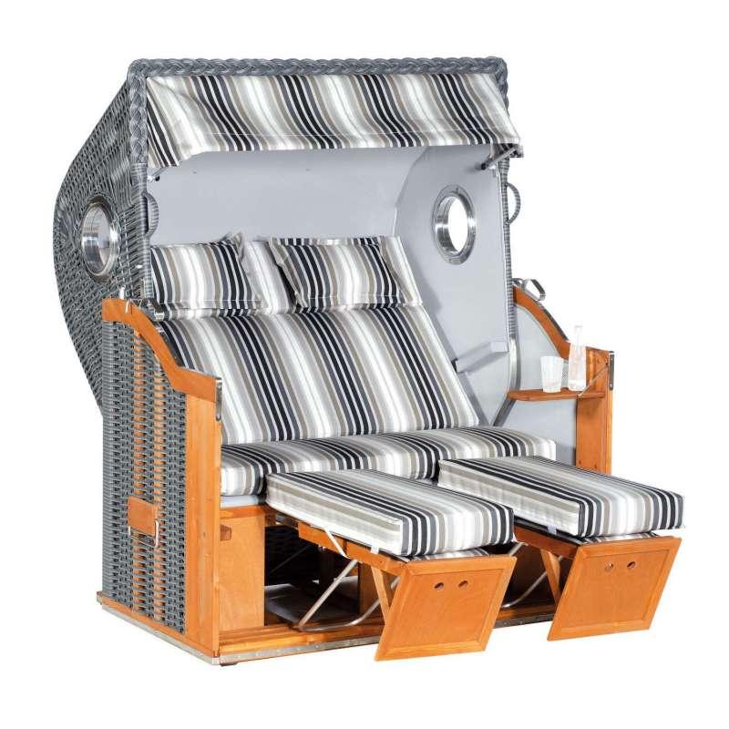 Sonnenpartner Strandkorb Classic 2-Sitzer XL Halbliegemodell onix/grau mit 2 Bullaugen und Sonderaus