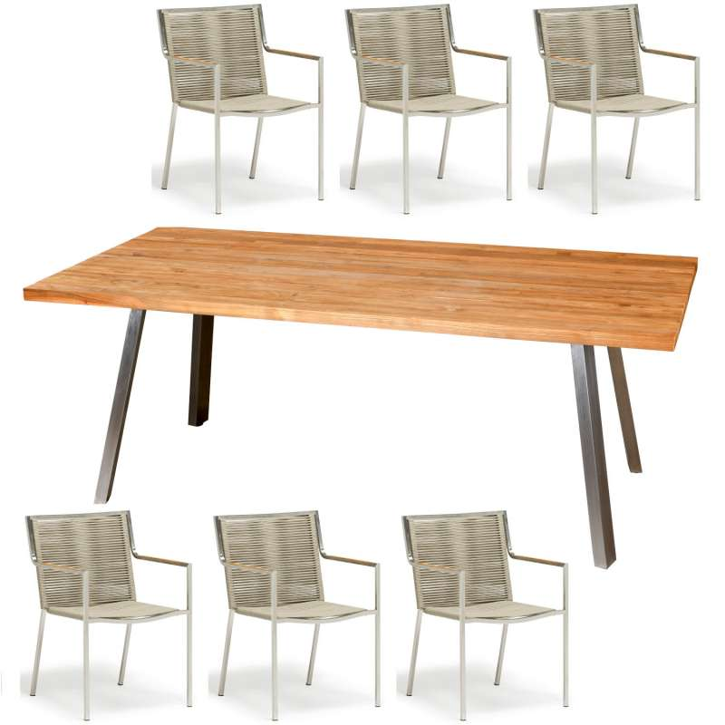 Inko 7-teilige Sitzgruppe Varuna Edelstahl/Kordel/Teak 200x100 cm Tisch mit Stapelsesseln
