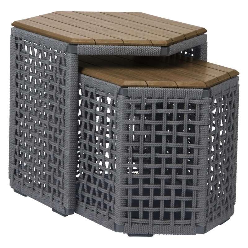 Stern 2er-Set Beistelltische Timantti Aluminium anthrazit/platin/Teakholz Loungetisch Gartentisch