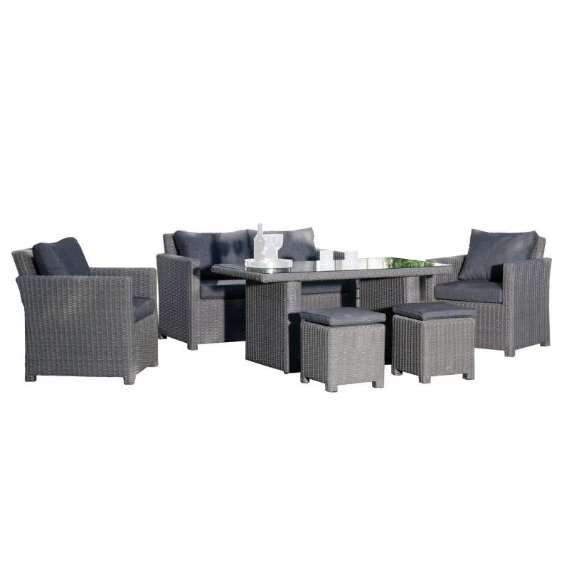 SunnySmart 6-teilige Loungegruppe Fame Aluminium mit Kunststoffgeflecht rustic-vintage