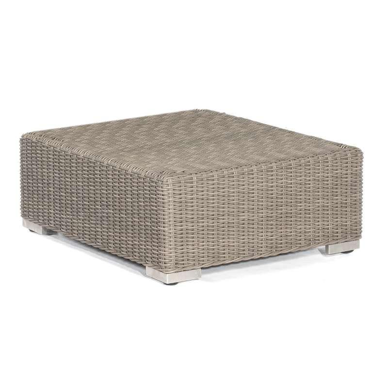 Sonnenpartner Lounge-Hocker Residence Aluminium mit Polyrattan stone-grey inklusive Kissen Sitzhocke