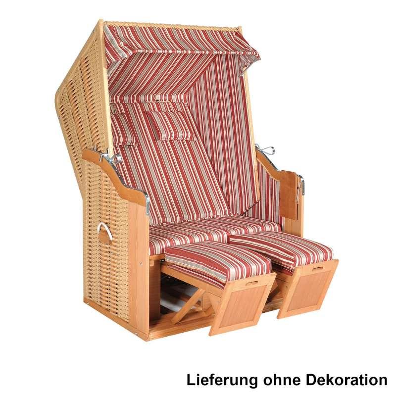 SunnySmart Garten-Strandkorb Rustikal 50 PLUS 2-Sitzer beige/rot mit Kissen