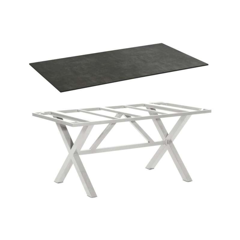 Sonnenpartner Gartentisch Base-Spectra 200x100 cm Aluminium silber Tischsystem mit wählbarer Tischpl