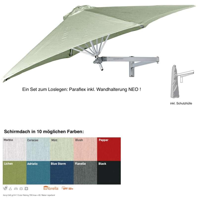 Umbrosa Paraflex ø 300 cm Wandschirm SET inkl. Halterung NEO Sonnenschirm 10 Farbvarianten