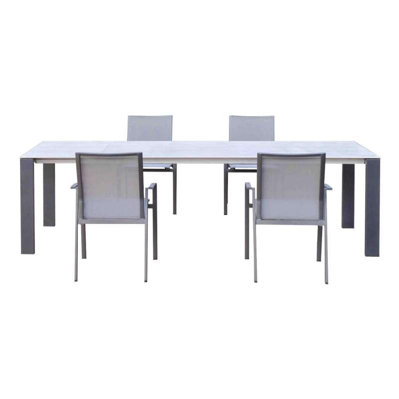 SIT Mobilia 5-teilige Sitzgruppe Olympia Oslo & Argentina Edelstahl/Aluminium eisengrau/silber Tisch