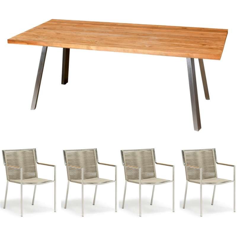Inko 5-teilige Sitzgruppe Varuna Edelstahl/Kordel/Teak 160x90 cm Tisch mit Stapelsesseln
