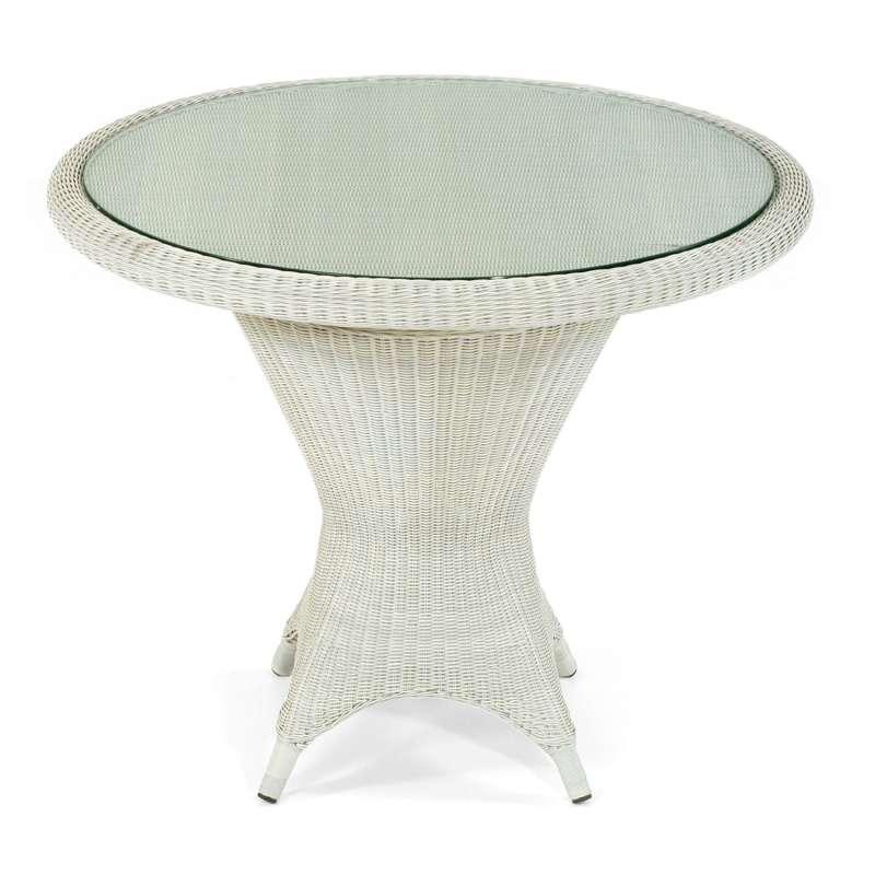 Sonnenpartner Gartentisch Bonaire Aluminium mit Polyrattan white-washed Ø 90 cm Garten-Tisch