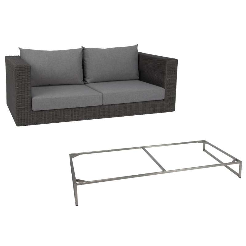 Stern 2-Sitzer Lounge-Sofa Fontana Dining Geflecht basaltgrau/Edelstahl Kufengestell/Kissen seidengr