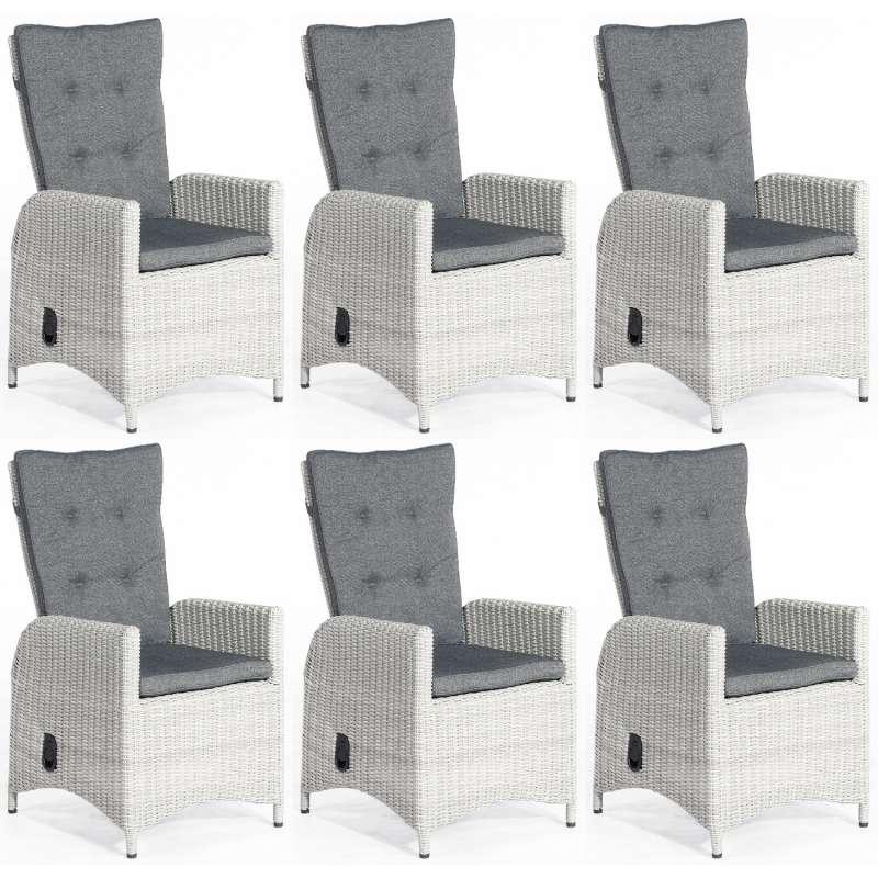 SunnySmart 6er Set Dining-Sessel Para-Plus Aluminium mit Kunststoffgeflecht silber-grau Gartenstuhl