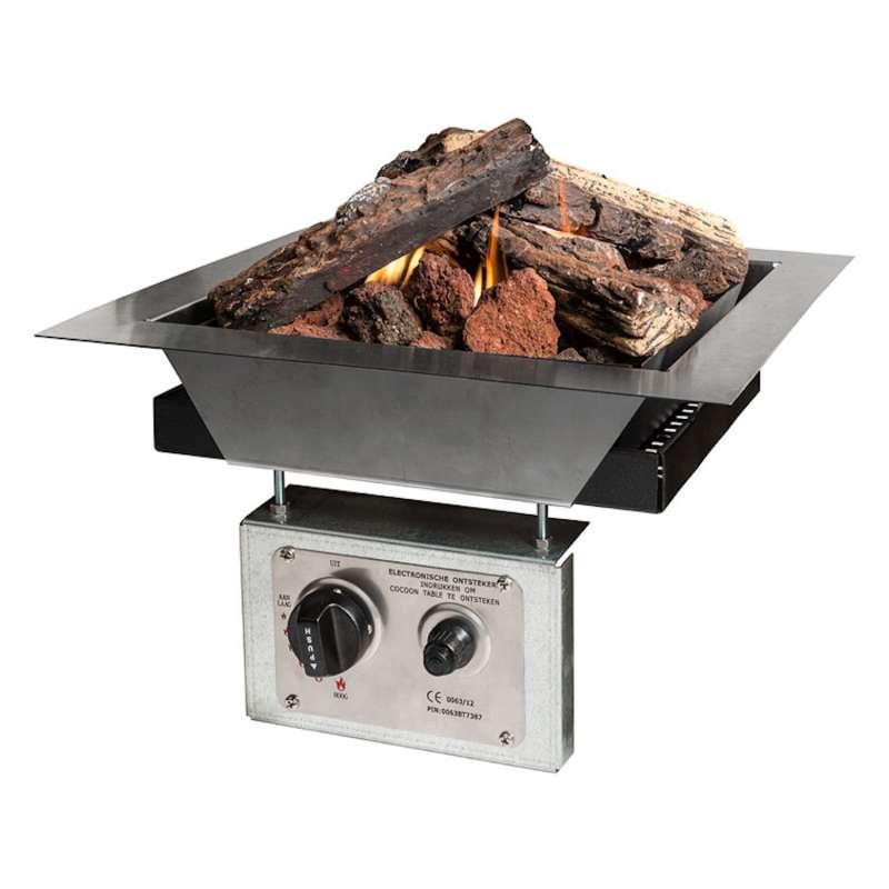 Happy Cocooning Mania Einbau-Feuerstelle 6,5 kW quadratisch 39x39x23 cm Einbaumodell Feuertisch