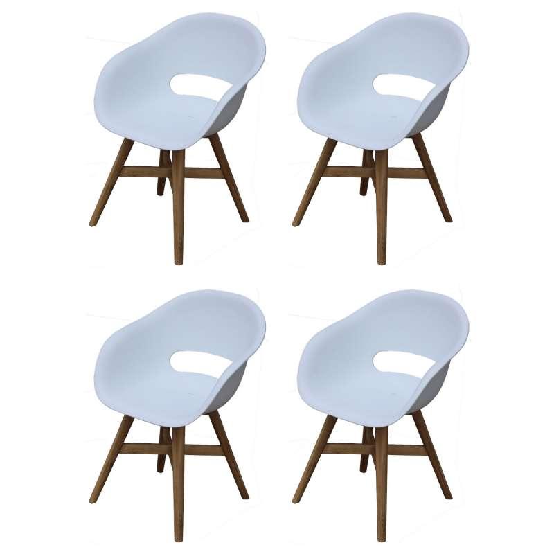 Inko 4er-Set Gartensessel Doro Akazie/Kunststoff weiß 61x53x86 cm Gartenstuhl Sessel