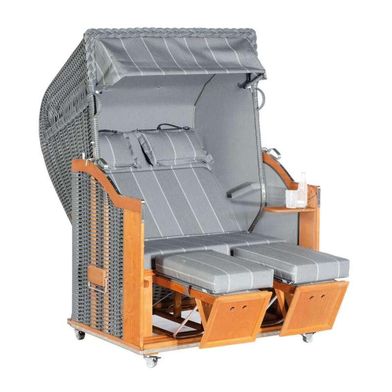 Sonnenpartner Strandkorb Classic 2-Sitzer Halbliegemodell onix/grau mit Sonderausstattung