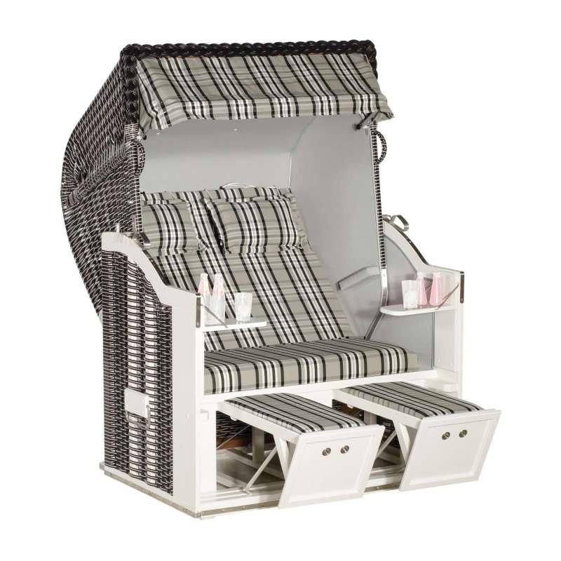 Sonnenpartner Strandkorb Classic 2-Sitzer Halbliegemodell modena schwarz/hellgrau mit Sonderausstatt