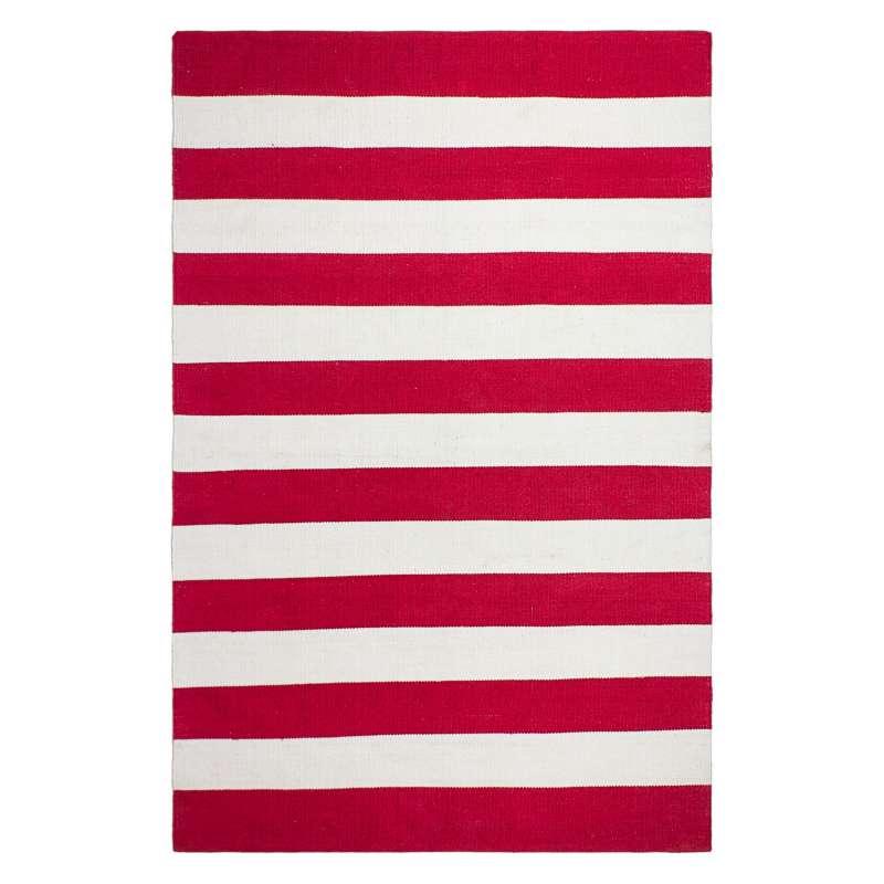 Fab Hab Outdoorteppich Nantucket Red&White aus recycelten PET-Flaschen rot/weiß 76x240 cm