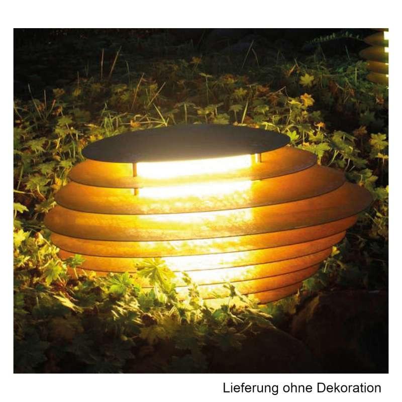 Mecondo Leuchtobjekt SONAS 63,7x48x34,5 cm LED-Leuchte Gartendekoration Corten/Edelstahl/Stahl