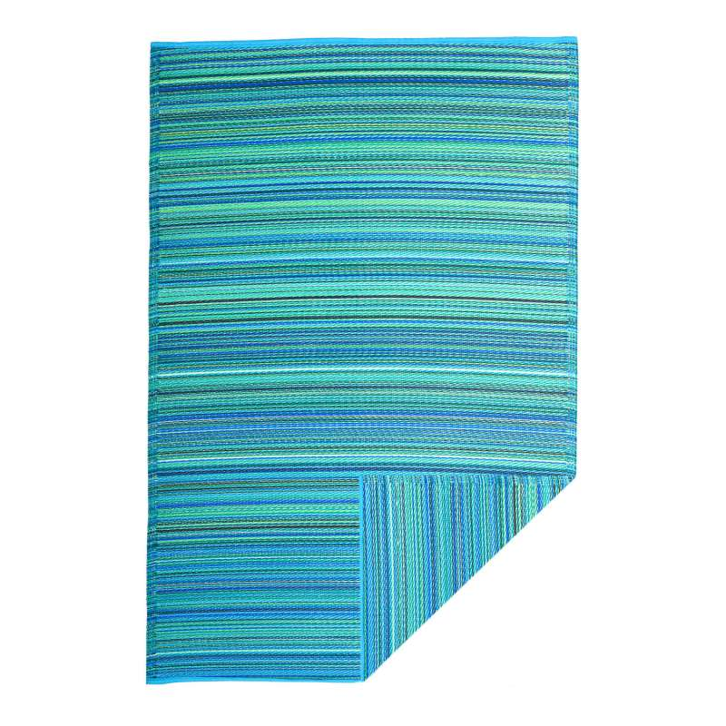 Fab Hab Outdoorteppich Cancun Turquoise&Moss Green aus recyceltem Plastik türkis 75x240 cm