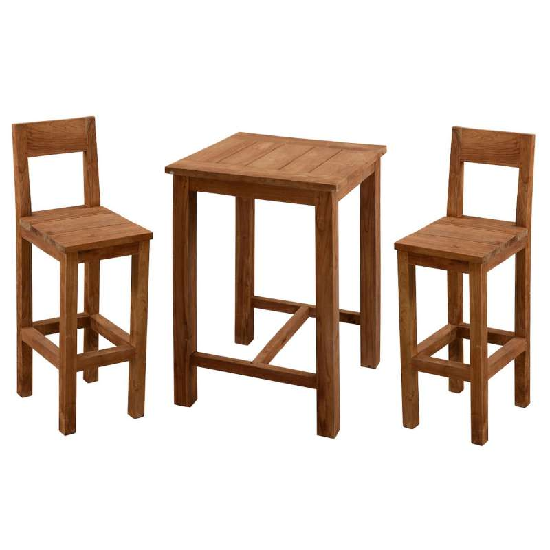 Inko 3-teilige Bar-Sitzgruppe Abacus recyceltes Teak 80x80x108 cm mit 2 Barstühlen