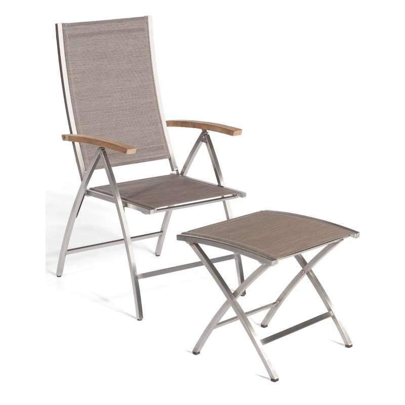 Sonnenpartner Klappsessel Paragon mit Fußhocker Edelstahl mit Textilen taupe Klapp-Sessel Klappstuhl