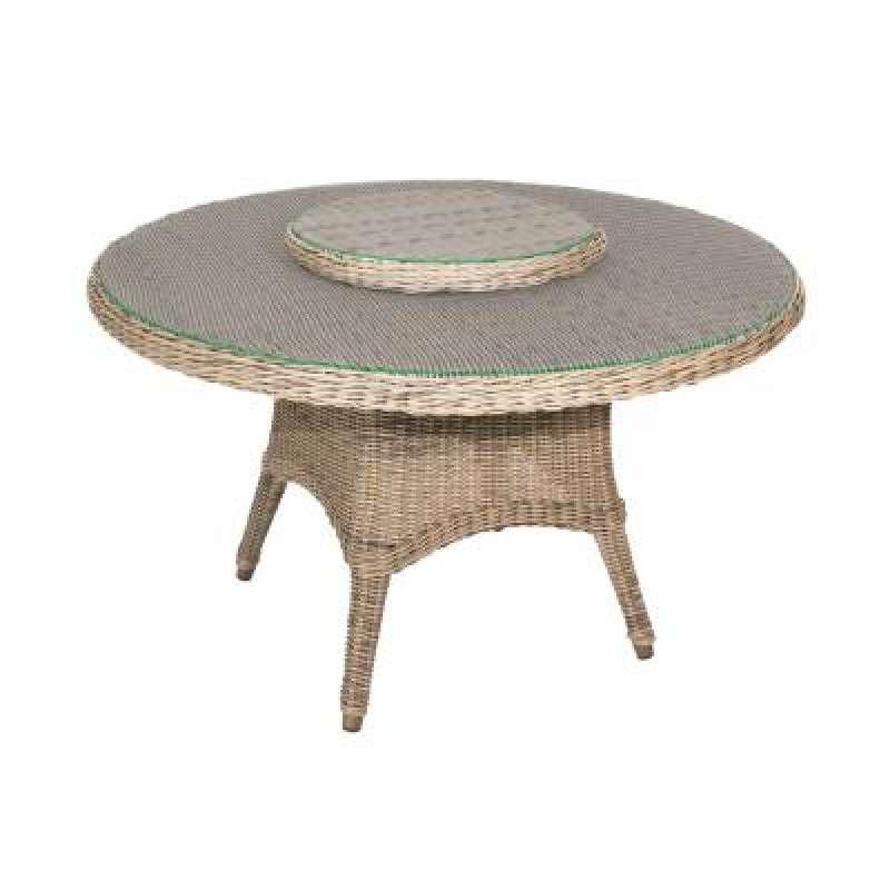4Seasons Outdoor Victoria Tisch ø 130 cm mit Drehteller Lazy Susan ø 55cm Pure