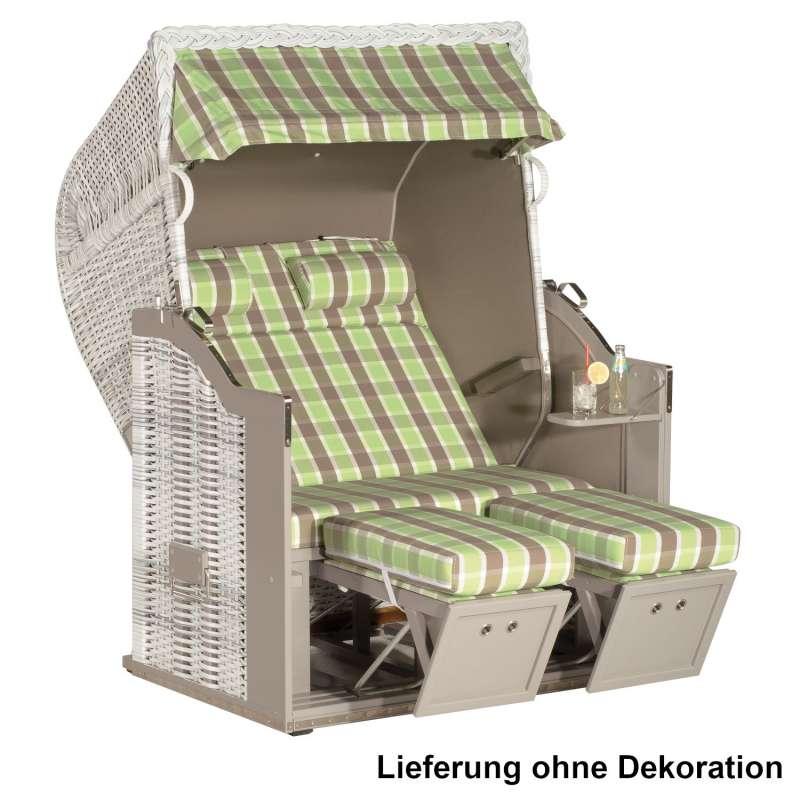 Sonnenpartner Strandkorb Classic 2-Sitzer Halbliegemodell weiß/grün/taupe mit Sonderausstattung