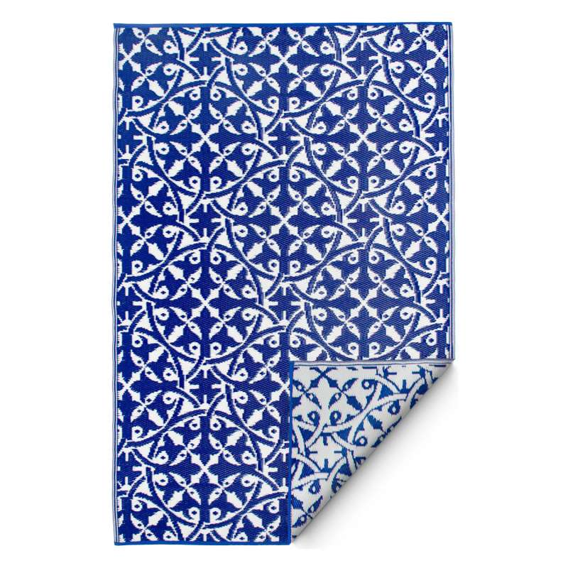 Fab Hab Outdoorteppich San Juan Dark Blue aus recyceltem Plastik blau/weiß wetterfest 240x300 cm