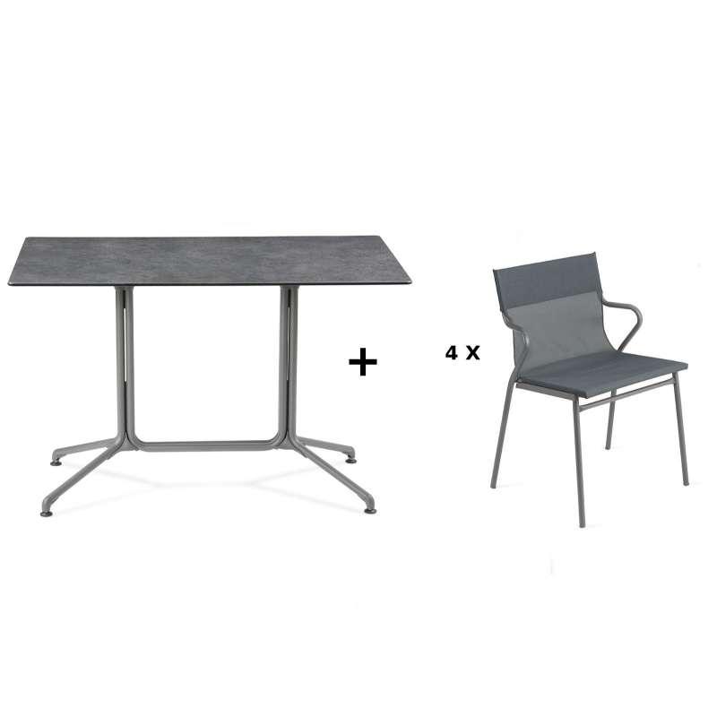 Lafuma Horizon Tisch-Set Loungetisch 115x70x74,5 cm Mineral 4 Stühle Storm Grey