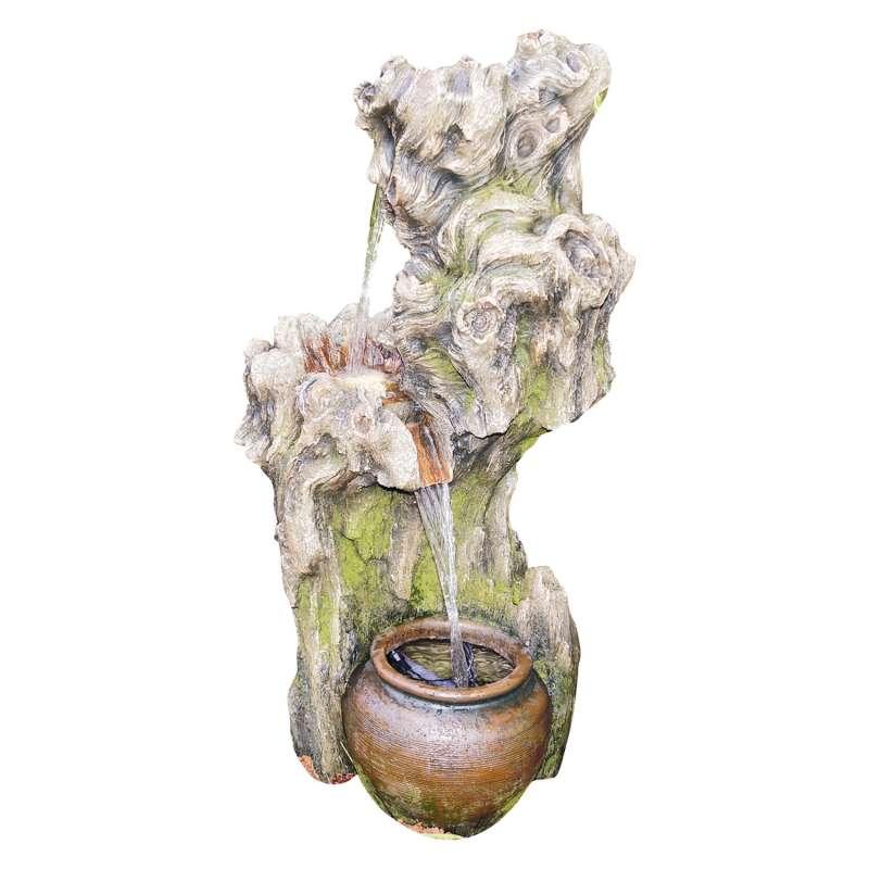 Granimex Zang Polystone Wasserfall mit Pumpe und LED-Beleuchtung Zierbrunnen Wasserspiel 100x50x49 c