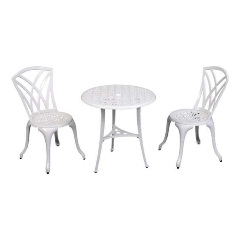 Inko Bistro-Set Chester Alu-Guss bronze oder weiß Tisch Ø 66 cm mit 2 Stühlen ohne Armlehnen