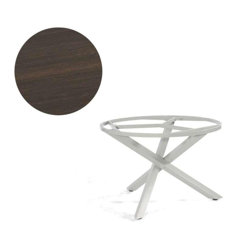Sonnenpartner Gartentisch Base-Spectra rund Ø 134 cm Aluminium silber Tischsystem mit wählbarer Tisc