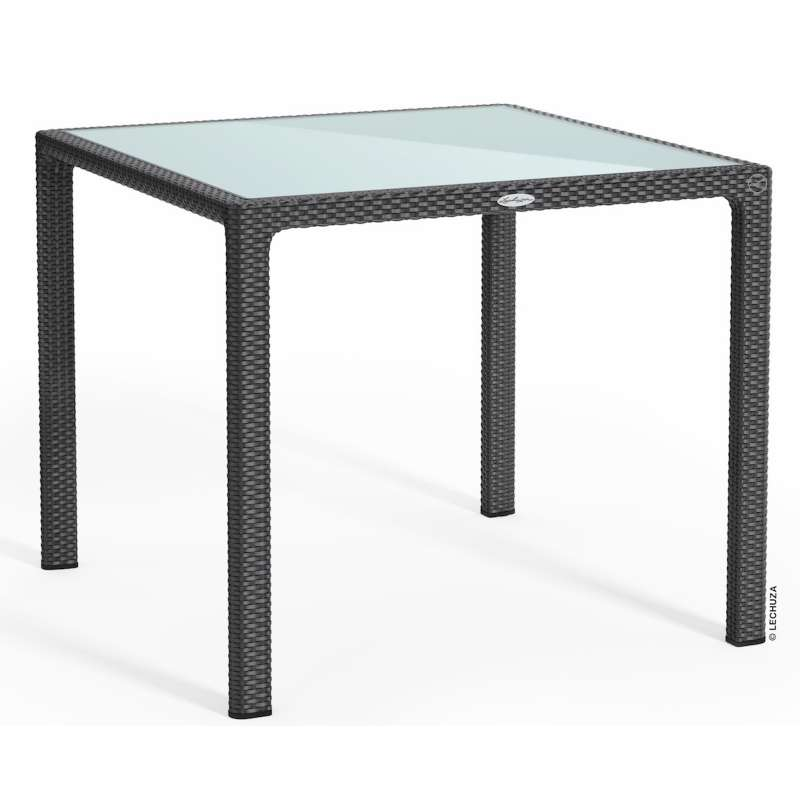 Lechuza Esstisch 90 x 90 cm granit inkl. Glasplatte Gartentisch Glastisch 10913