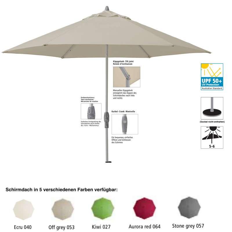 Sonnenschirm SUNCOMFORT® by Glatz Shell Turn rund ø 300 cm in 5 Farbvarianten Mittelmast