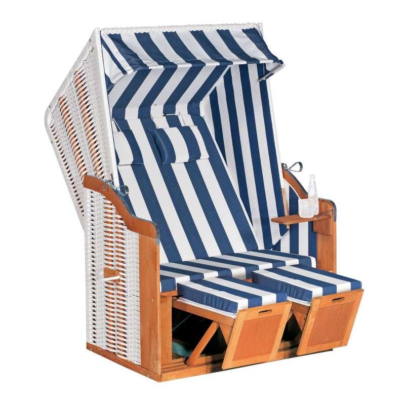 SunnySmart Garten-Strandkorb Rustikal 50 PLUS 2-Sitzer weiß/blau mit Kissen