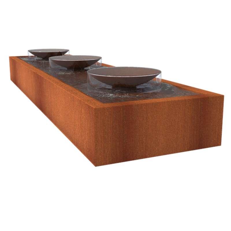 Adezz Wassertisch mit Schalen Corten-Stahl Rost braun/orange Wasserspiel Pumpe LED verschiedene Größ