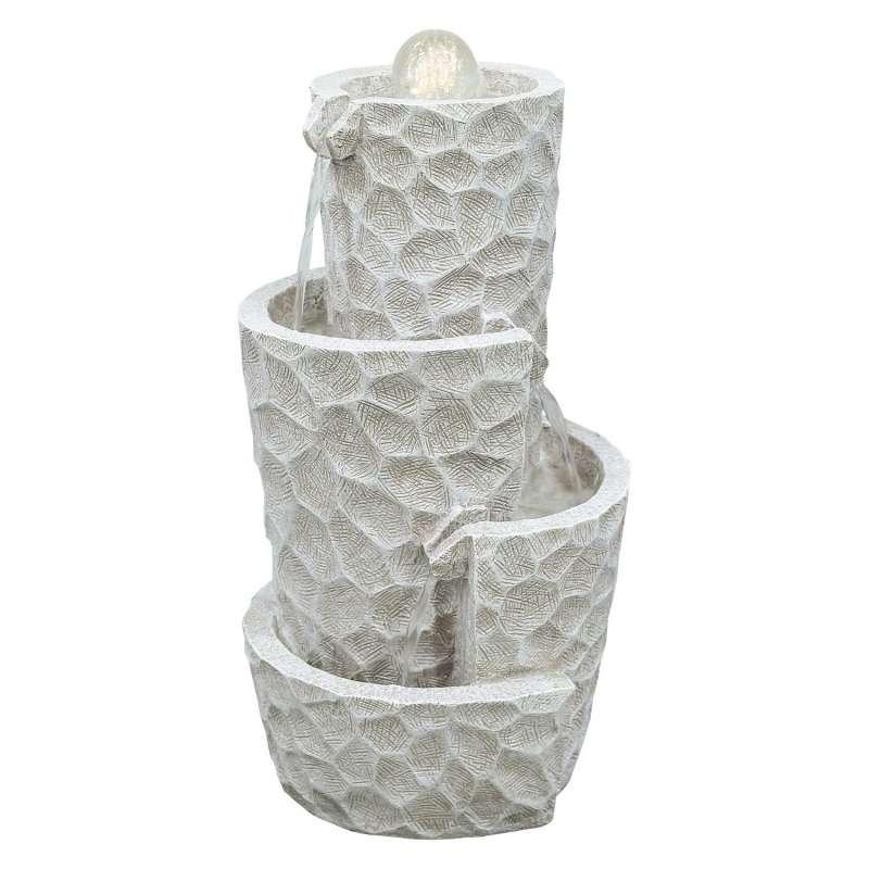 Granimex Naima Polystone Brunnen mit Pumpe LED-Beleuchtung Glaskugel Wasserspiel 52xØ28 cm