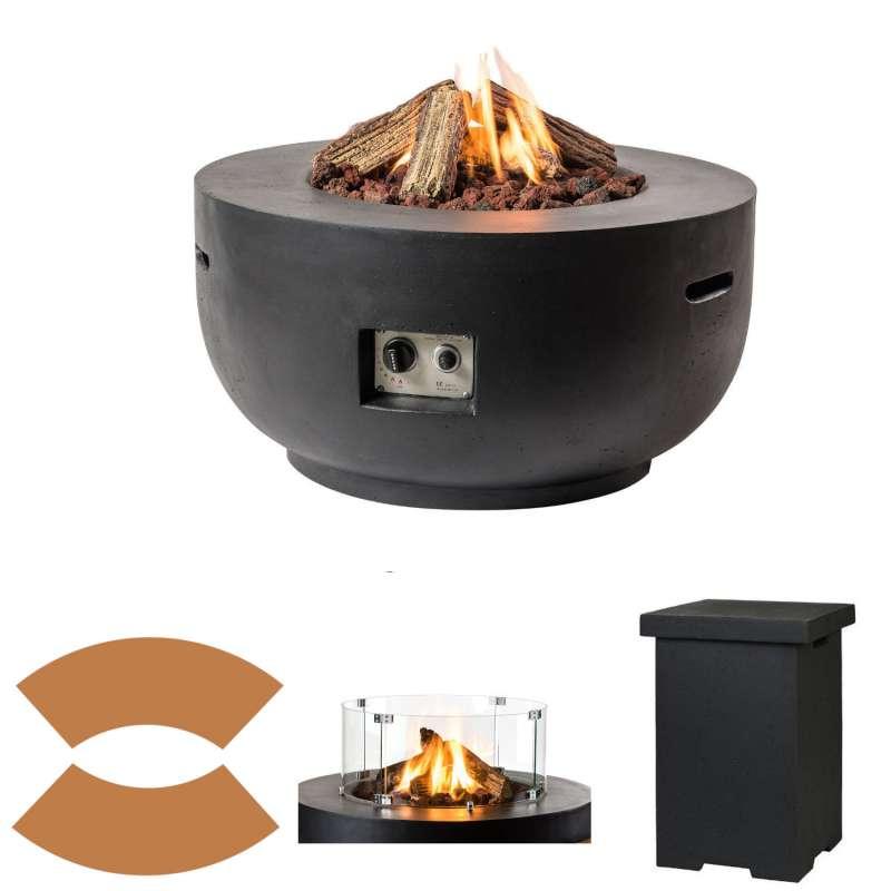 Happy Cocooning Mania Feuertisch Komplettset 19,5 kW Bowl rund 91x91x46 cm Beton-Optik schwarz