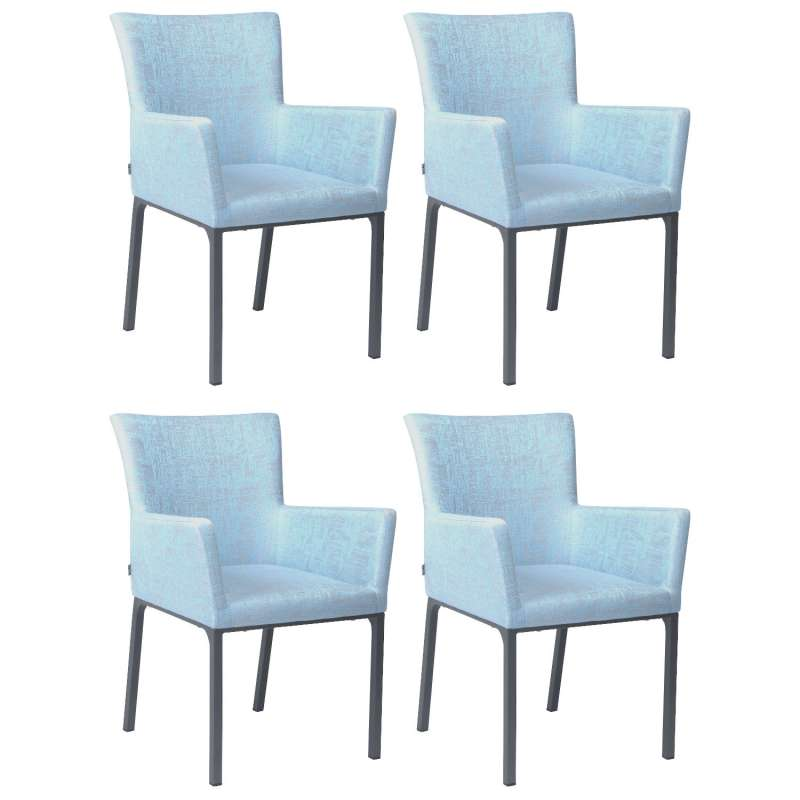 Stern 4er-Set Dining-Sessel Artus Aluminium anthrazit/ Outdoorstoff hellblau seidengrau Loungesessel