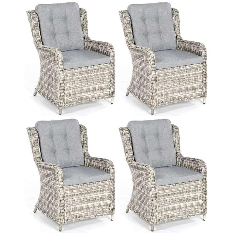 SunnySmart 4er Set Garten-Sessel Lincoln Aluminium mit Kunststoffgeflecht vintage-taupe Gartenstuhl