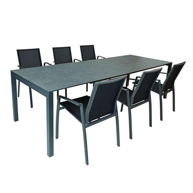 SIT Mobilia 7-teilige Sitzgruppe Etna Alpha & Argentina Aluminium eisengrau/HPL/schwarz Tisch 160/22