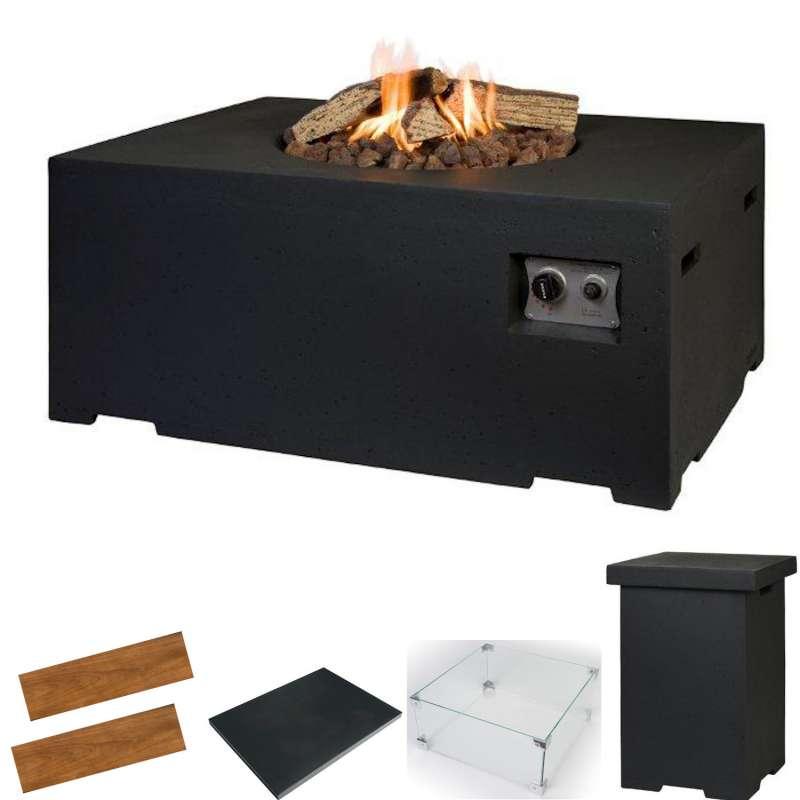 Happy Cocooning Mania Feuertisch Komplettset 19,5 kW rechtekig groß 107x80x46 cm Beton-Optik schwarz