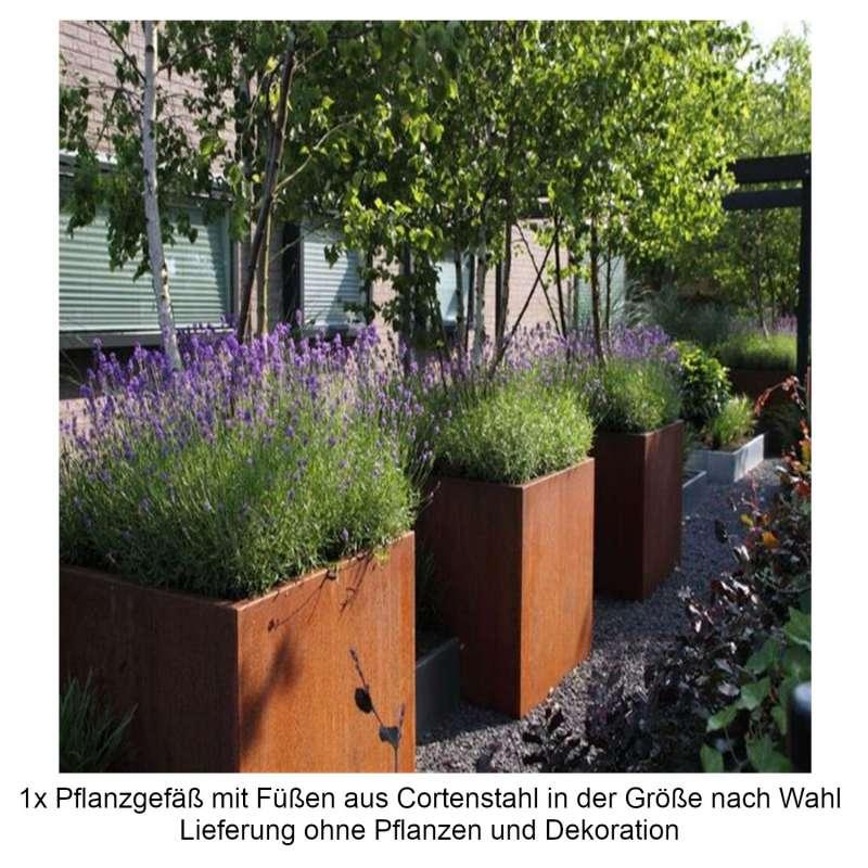 Mecondo Pflanzgefäß mit Füßen Cortenstahl quadratisch/rechteckig Größe nach Wahl Blumenkübel