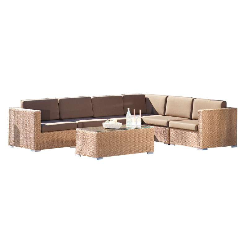 Sonnenpartner 7-teilige Lounge-Sitzgruppe Residence Aluminium mit Polyrattan Hyazinthoptik Loungegru