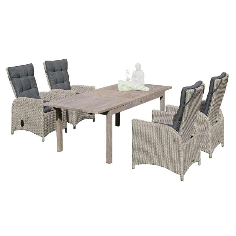 SunnySmart 5-teilige Sitzgruppe Para-Plus & Wellington Aluminium Kunststoffgeflecht rustic-vintage m