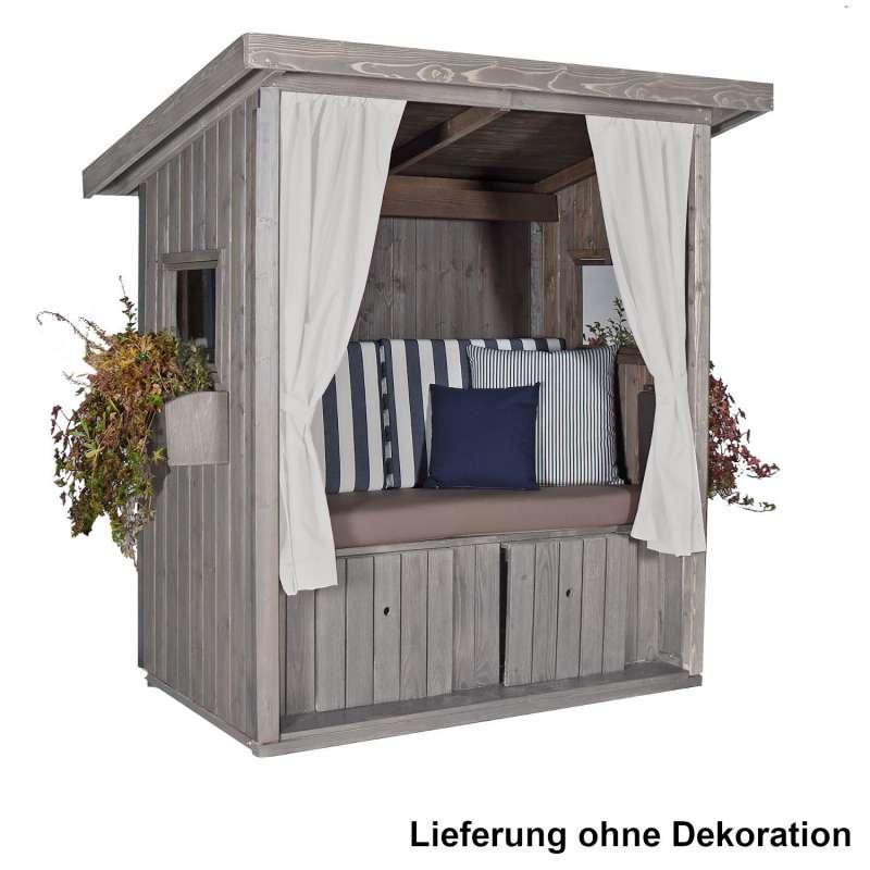 Sonnenpartner Outdoor-Lounge Hüttenliebe silbergrau 174x166x118 cm mit Polstern Hütte