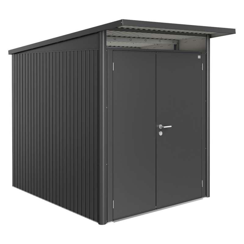 Biohort Gartenhaus AvantGarde® mit Doppeltür dunkelgrau-metallic 8 verschiedenen Größen Gerätehaus