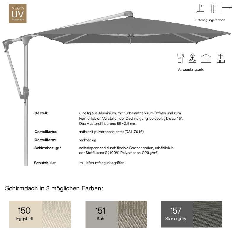 GLATZ Sonnenschirm SUNWING® CASA easy rechteckig 300 x 240 cm in 3 Farben Stoffklasse 2 Ampelschirm