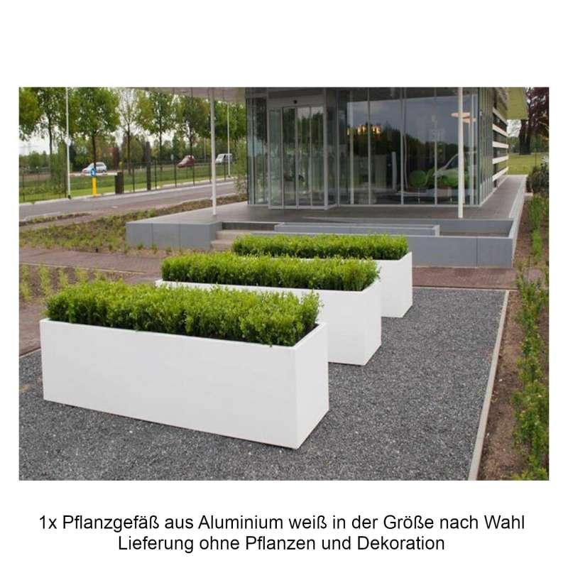 Mecondo Pflanzgefäß aus Aluminium verkehrsweiß RAL 9016 quadratisch/rechteckig Blumenkübel