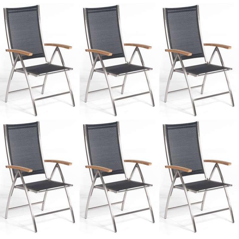 Sonnenpartner 6er-Set Klappsessel Paragon Edelstahl mit Textilen schwarz Klapp-Sessel Klappstuhl