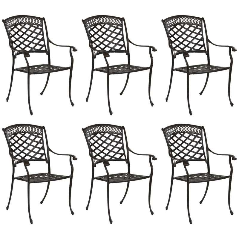 Inko 6er-Set Stapelstuhl Urban Alu-Guss bronze oder weiß 67x63x92 cm Gartenstuhl stapelbar