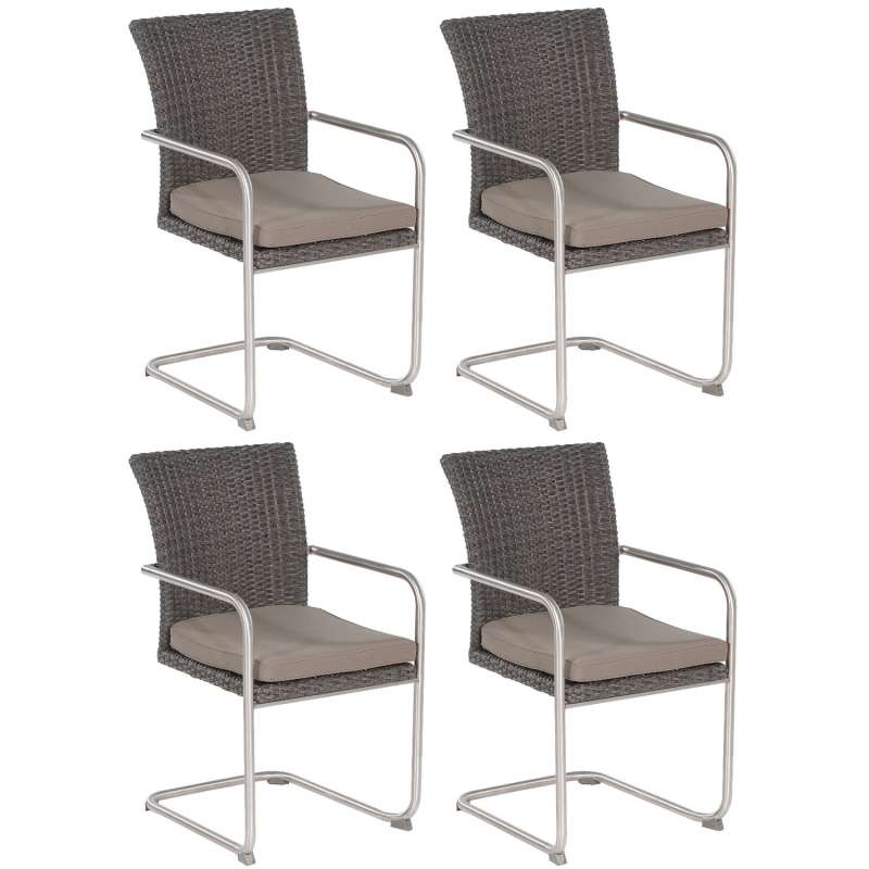SunnySmart 4er Set Garten-Freischwinger-Sessel Scala Aluminium mit Kunststoffgeflecht vintage-grau G