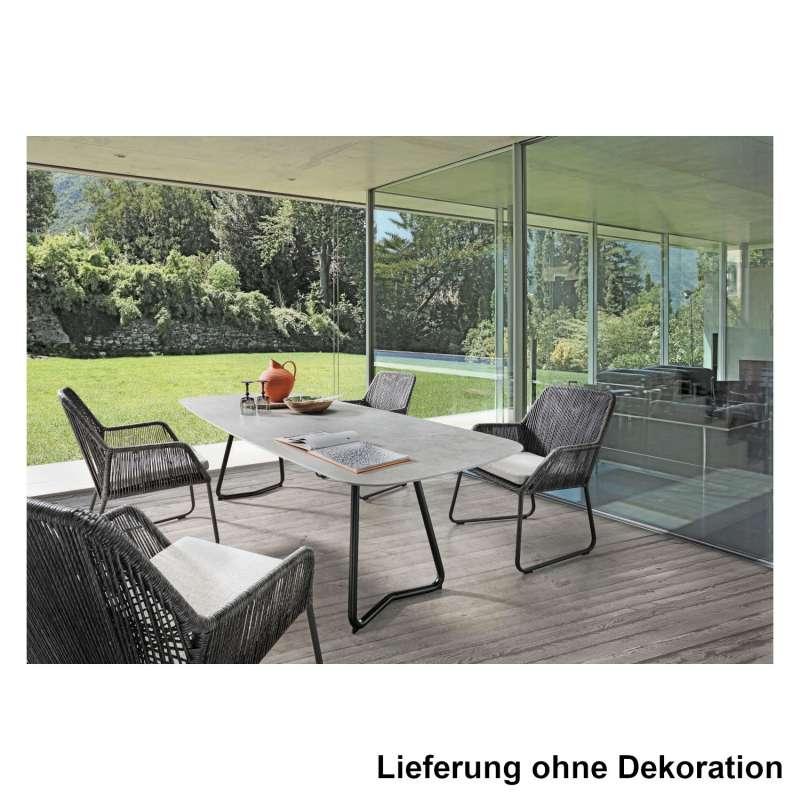 SIT Mobilia 7-teilige Sitzgruppe Jura Delemont & Allanis Stahl eisengrau/Dekton/ebony Tisch 220x100